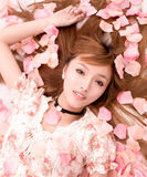 Asian beautiful Girl in flower Royalty Free Stock Photo