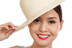 Asian beautiful girl with a hat Royalty Free Stock Photos