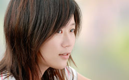 Asian beautiful girl in the outdoor Stock Photography