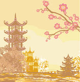 Asian beautiful landscape. Vector Illustration Royalty Free Stock Photography