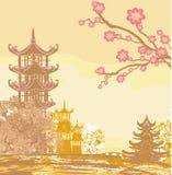 Asian beautiful landscape. Vector Illustration stock illustration