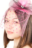 Asian beautiful woman in a pink hat Royalty Free Stock Images