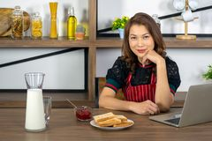 Asian beautiful working women with breakfast stock photo