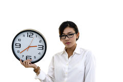 Asian Beautiful young girl holding clock, isolated on white Stock Photography