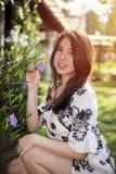 Asian beautiful young woman in the garden Stock Photos