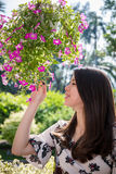 Asian beautiful young woman in the garden Stock Images