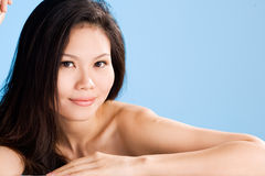 Asian beauty. A beautiful asian woman's face with sweet smile Royalty Free Stock Photography