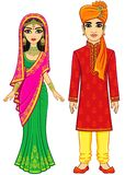 Asian beauty. Animation Indian family in traditional clothes. royalty free illustration