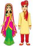 Asian beauty. Animation Indian family in traditional clothes. vector illustration