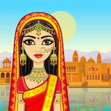 Asian beauty. Animation portrait of the young Indian girl in traditional clothes. Fairy tale princess. Background - old city, river embankment. Vector vector illustration