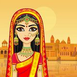 Asian beauty. Animation portrait of the young Indian girl in traditional clothes. Fairy tale princess. Background - old city, river embankment. Vector royalty free illustration