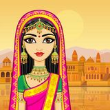Asian beauty. Animation portrait of the young Indian girl in traditional clothes. Fairy tale princess. Background - old city, river embankment. Vector stock illustration