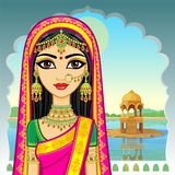 Asian beauty. Animation portrait of the young Indian girl in traditional clothes. Fairy tale princess. Background - openwork window of the palace, river vector illustration
