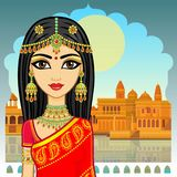 Asian beauty. Animation portrait of the young Indian girl in traditional clothes. Fairy tale princess. Background - openwork window of the palace, old city royalty free illustration