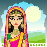 Asian beauty. Animation portrait of the young Indian girl in traditional clothes. Fairy tale princess. Background - the palace, a solar mountain landscape vector illustration