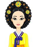 Asian beauty. Animation portrait of the young Korean girl in ancient clothes. Historical hairstyle. Vector illustration isolated on a white background Stock Images