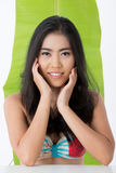 Asian beauty with banana leaf Royalty Free Stock Photography