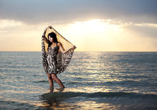 Asian beauty on the beach. Asian beauty girl stay on the beach Royalty Free Stock Images