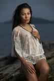Asian Beauty On Beach Sunset Stock Image
