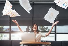 Asian beauty businesswoman throwing paperwork into the air. Successful and achievement concept. Business and Occupation concept. Freelance and business owner royalty free stock image
