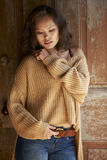 Asian Beauty In Comfortable Sweater Royalty Free Stock Photo