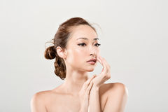 Asian beauty face. Closeup portrait with clean and fresh elegant lady Stock Photo