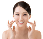 Asian beauty face. Closeup portrait with clean and fresh elegant lady Royalty Free Stock Photography