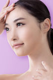 Asian beauty face. Closeup portrait with clean and fresh elegant lady Royalty Free Stock Photos