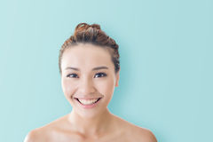 Asian beauty face. Closeup portrait with clean and fresh elegant lady Stock Photos