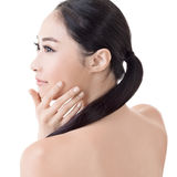 Asian beauty face. Closeup portrait with clean and fresh elegant lady. Studio shot Stock Photography