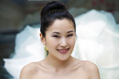 Asian beauty face portrait with clean and fresh elegant lady Stock Image
