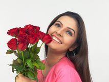 Asian beauty with flowers Royalty Free Stock Image