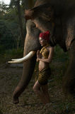 Asian Beauty With Friendly Elephant Royalty Free Stock Image