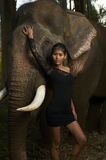 Asian Beauty With Friendly Elephant Stock Images