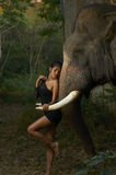 Asian Beauty With Friendly Elephant Royalty Free Stock Photos