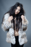 Asian beauty in fur coat Stock Image