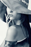 Asian beauty. Glamour of Asian beauty with hat, closeup portrait Royalty Free Stock Images