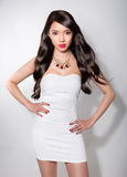 Asian beauty on grey background Stock Photography