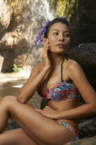 Asian Beauty At Jungle Waterfall Royalty Free Stock Photo