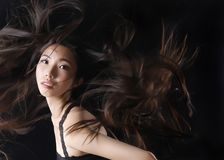 Asian beauty model shows beautiful hair. The Asian beauty model shows beautiful hair. The wind blows her hair and looks very silky hair stock photo