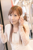 Asian beauty in MRT carriages Royalty Free Stock Photography
