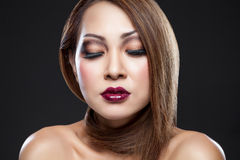 Asian beauty with perfect skin royalty free stock photos