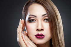 Asian beauty with perfect skin royalty free stock photography