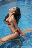 Asian Beauty In Pool Stock Photo