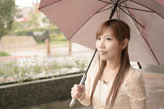 Asian beauty in raining day Stock Image