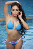 Asian Beauty In Resort Pool Royalty Free Stock Photo