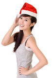 Asian beauty with Santa Claus hat Stock Image