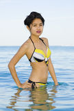 Asian beauty in the sea Royalty Free Stock Photos