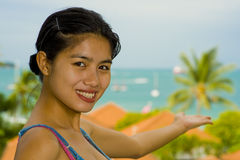 Asian beauty at the sea Royalty Free Stock Images