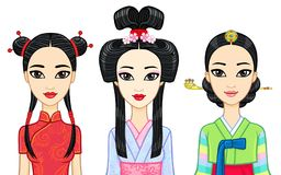 Asian beauty. Set of animation portraits of east girls in traditional clothes. Japan, Korea, China. Royalty Free Stock Images